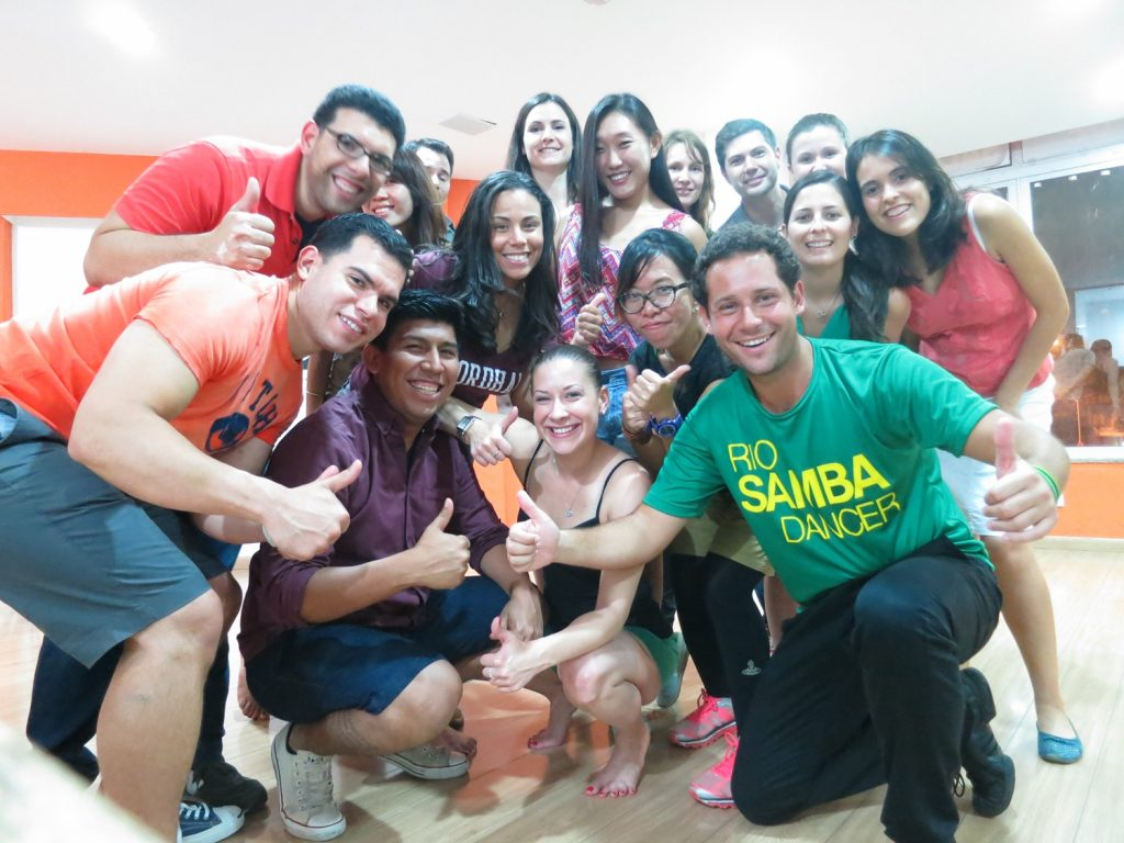People from around the world after our group samba class
