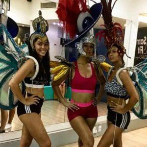 Three ladies with samba costume